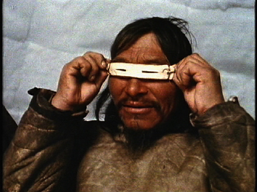 "Ancient ""Sunglasses"" used by Eskimo Hunters. Slits in the ivory reduce the glare from the sun."