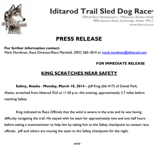 Press Release Jeff King Scratches Near Safety - tundratech@gmail.com - Gmail - Mozilla Firefox 3112014 124510 AM